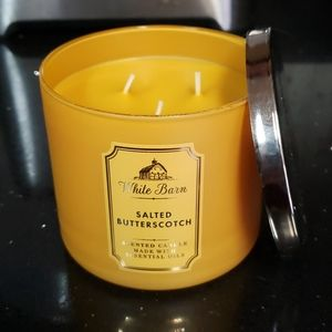 New BBW 3 Wick Candle-Salted Butterscotch